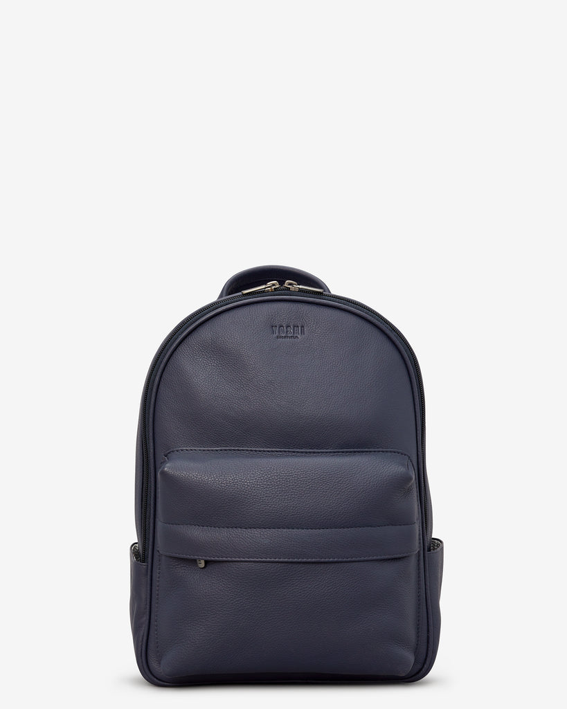 Mercer Navy Leather Backpack - Navy - Yoshi