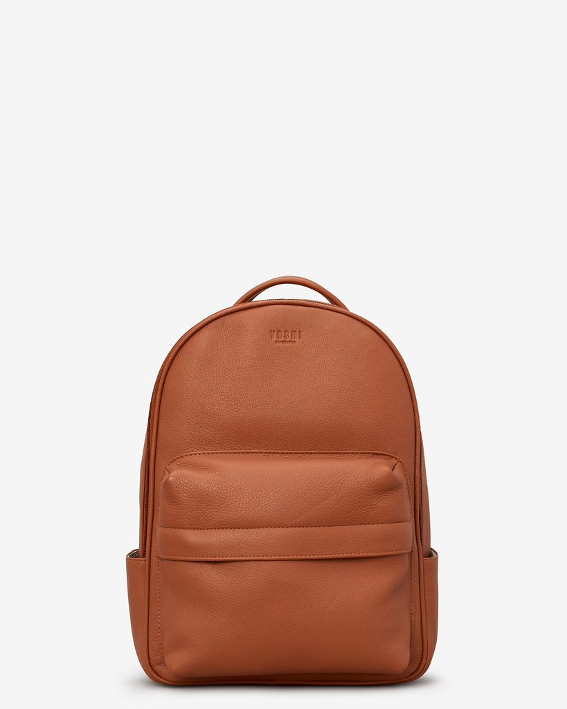 Mercer Tan Leather Backpack - Tan - Yoshi