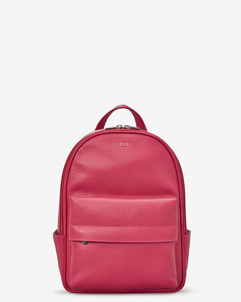 Mercer Raspberry Leather Backpack - Yoshi