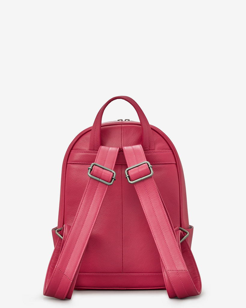 Mercer Raspberry Leather Backpack Bag - Yoshi