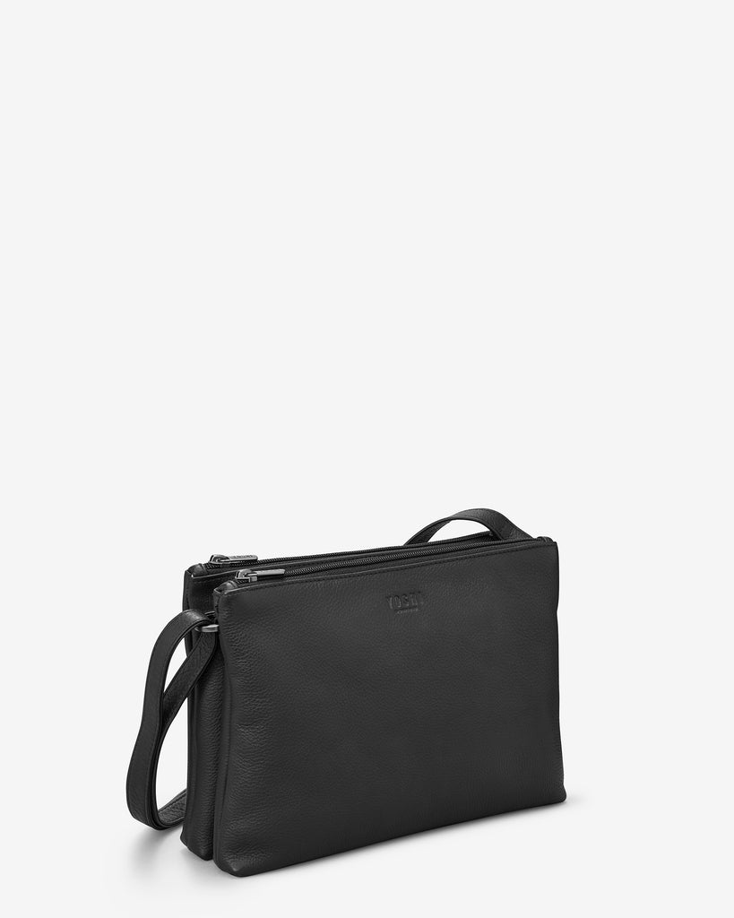 Miller Black Leather Double Zip Top Cross Body Bag - Yoshi