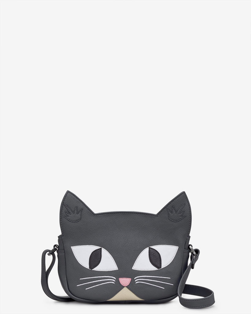 Misty The Cat Grey Leather Cross Body Bag - Grey - Yoshi