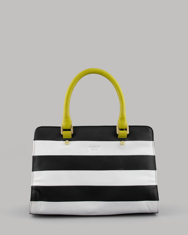 Monocrome Stripe Marty Leather Tote Bag for ladies by Yoshi A