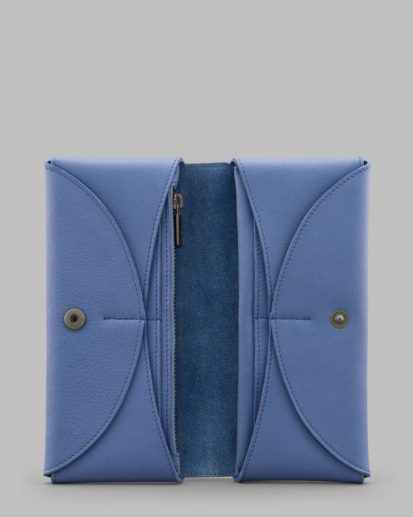 Montana Cornflower Blue Leather Flap Over Purse A