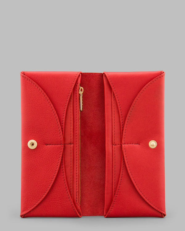 Montana Red Leather Flap Over Purse A