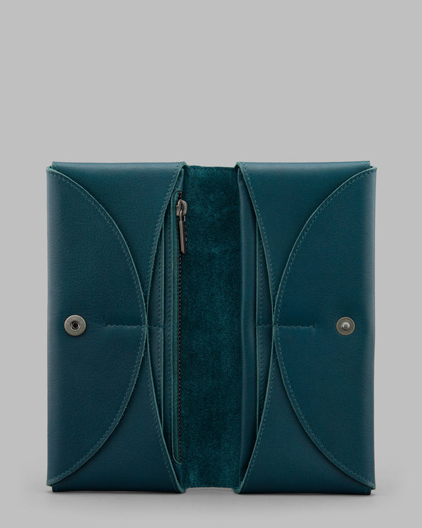 Montana Teal Leather Flap Over Purse A