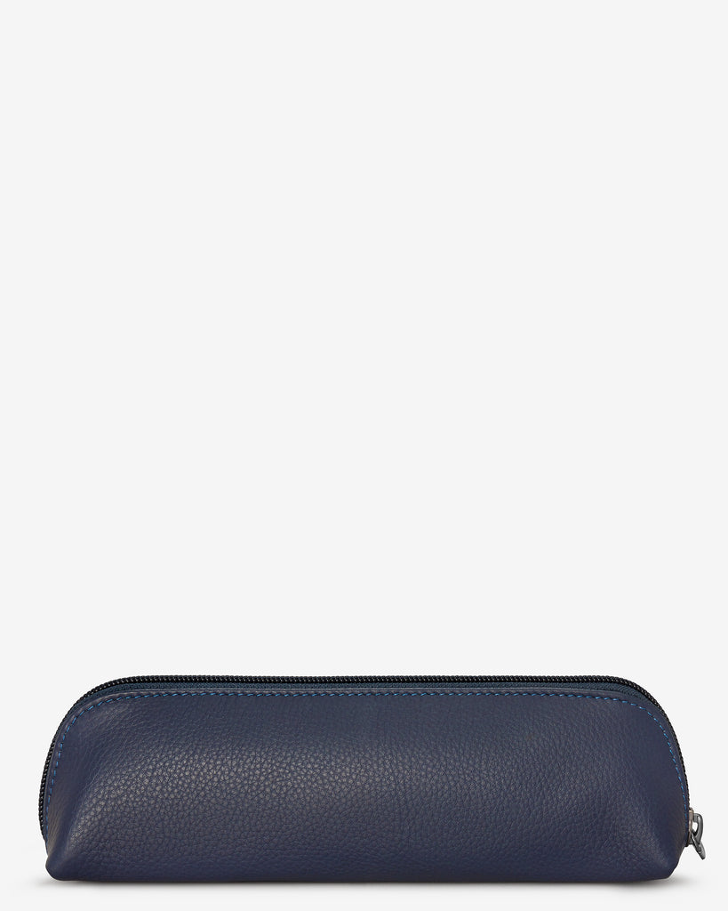 Morgan Navy Leather Pencil Case - Yoshi