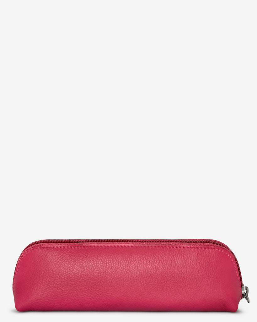 Morgan Raspberry Leather Pencil Case - Yoshi