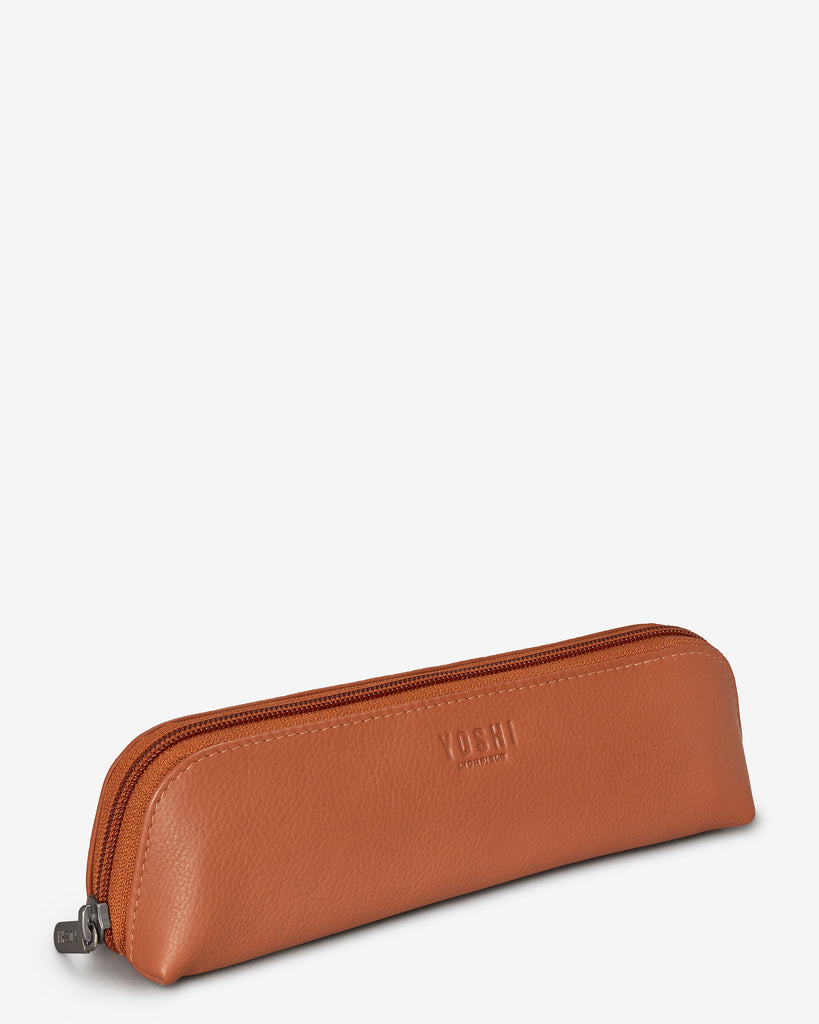 Morgan Tan Leather Pencil Case - Yoshi