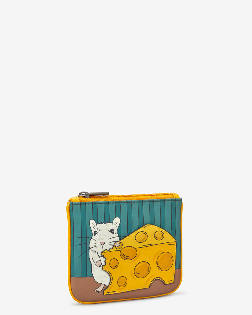 Mouse And Cheese Zip Top Leather Purse - Yoshi