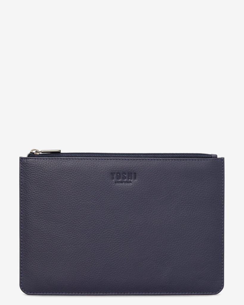 Navy Leather Brooklyn Pouch - Navy - Yoshi
