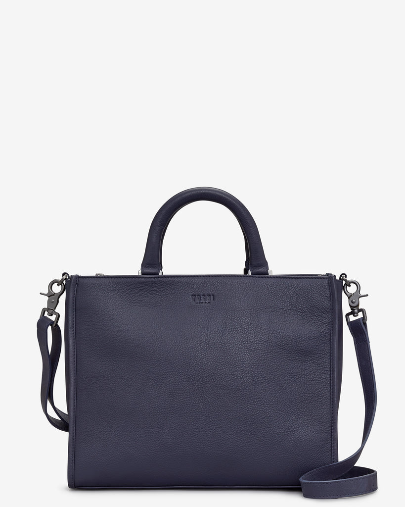 Harwood Navy Leather Tote Bag - Navy - Yoshi
