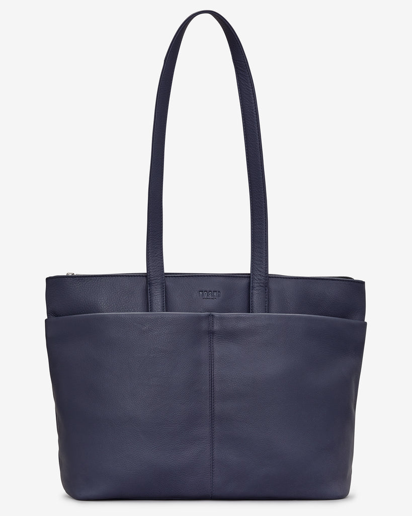 Gresley Navy Leather Shopper Bag - Navy - Yoshi