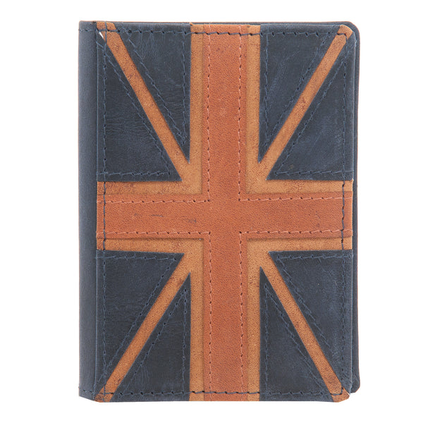 Navy Leather Union Jack Oyster Card Holder by 1642 5307 6 2 B