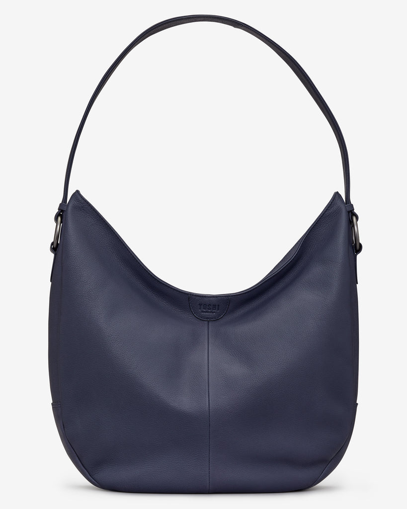Ludlow Navy Leather Shoulder Bag - Navy - Yoshi