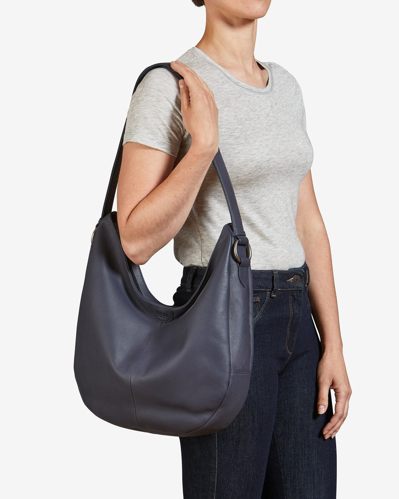 Ludlow Navy Leather Shoulder Bag - Yoshi