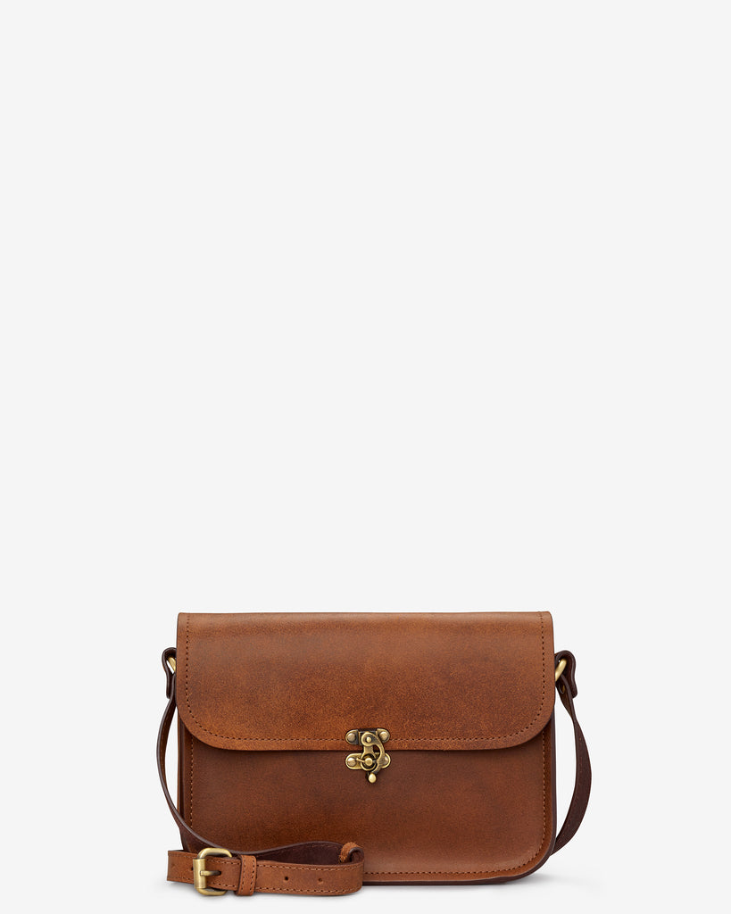 Newman Brown Leather Cross Body Bag - Brown - Yoshi