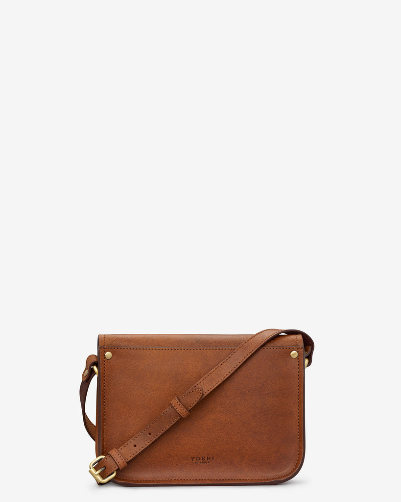 Newman Brown Leather Cross Body Bag -  - Yoshi