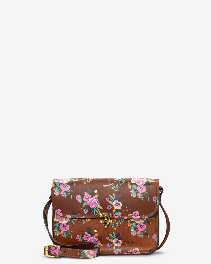 Newman Brown Leather Floral Print Cross Body Bag - Brown - Yoshi