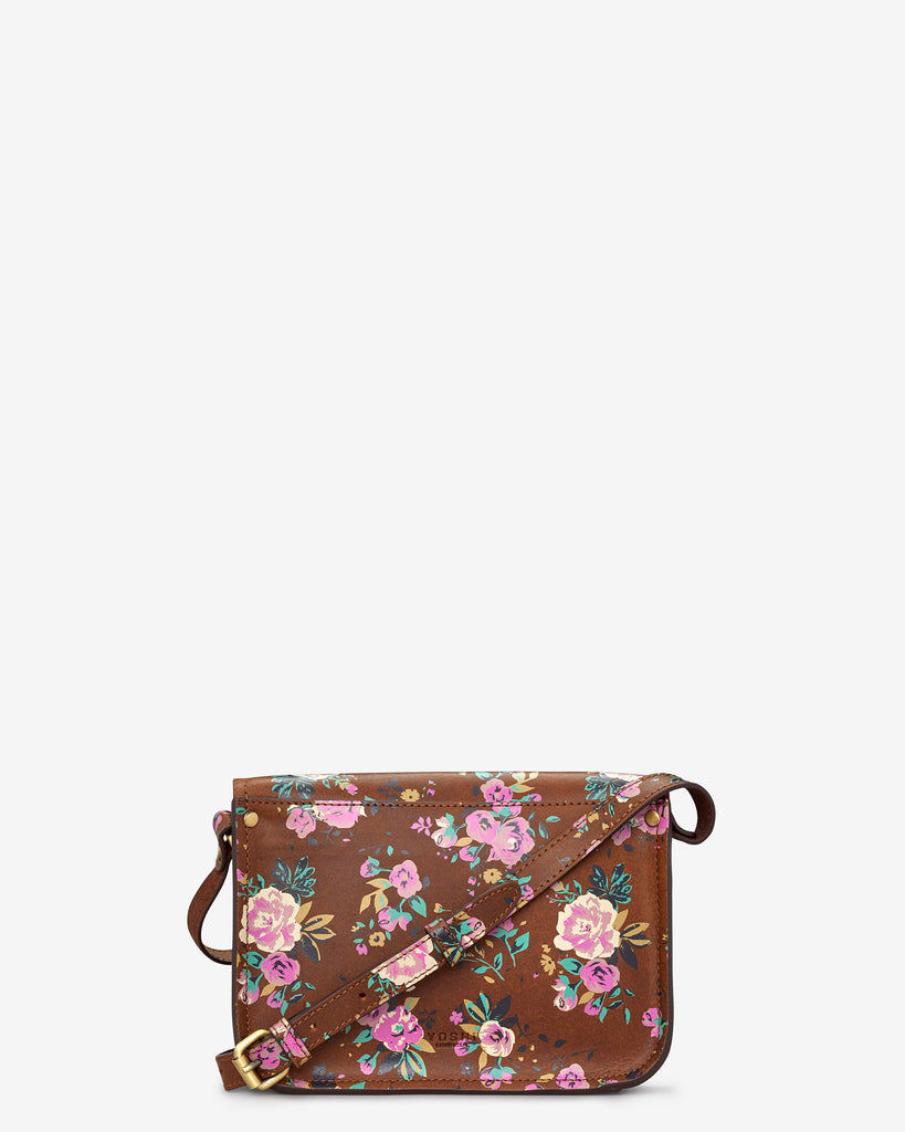 Newman Brown Leather Floral Print Cross Body Bag -  - Yoshi
