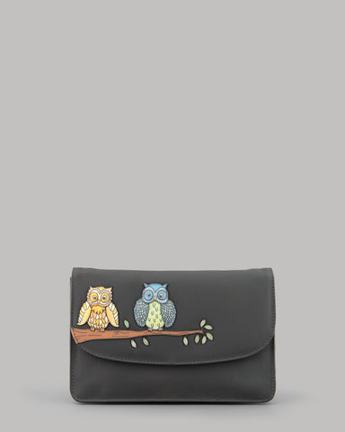 Owl Twit Twoo Ladies Charcoal Grey Leather Clutch Bag by Yoshi