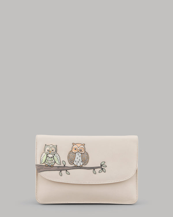 Owl Twit Twoo Ladies Cream Leather Clutch Bag by Yoshi