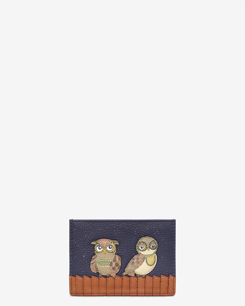 Owl You Need Navy Leather Academy Card Holder - Navy - Yoshi