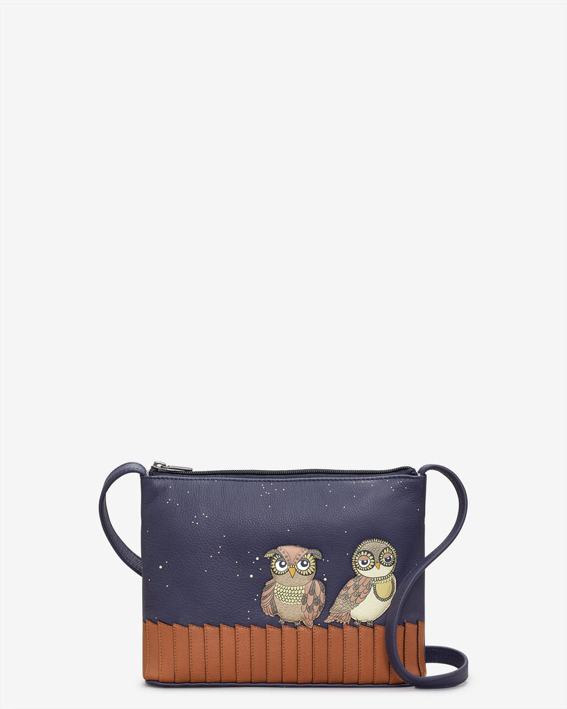 Owl You Need Navy Leather Cross Body Bag - Navy - Yoshi