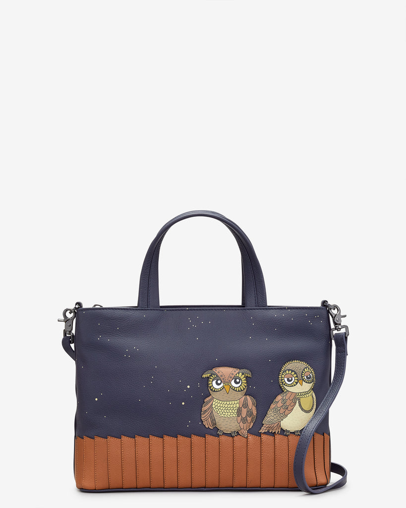 Owl You Need Navy Leather Multiway Grab Bag - Navy - Yoshi