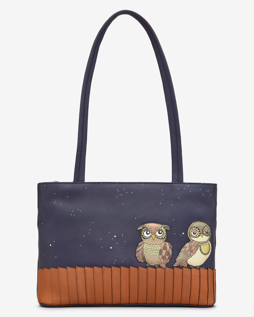 Owl You Need Navy Leather Shoulder Bag - Navy - Yoshi