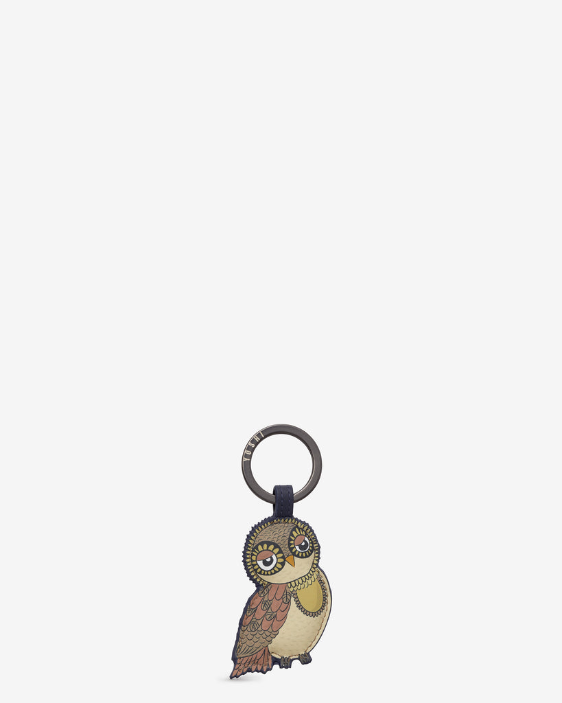 Owl You Need is Her Navy Leather Keyring - Navy - Yoshi