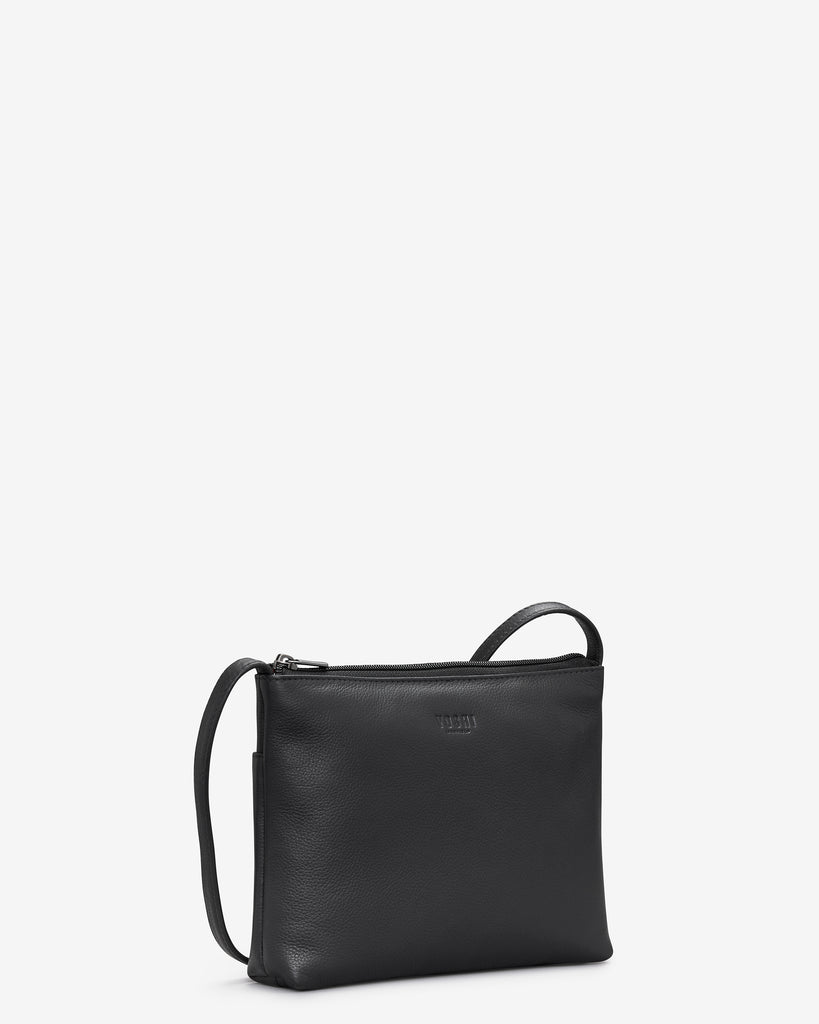 Parker Black Leather Cross Body Bag - Yoshi