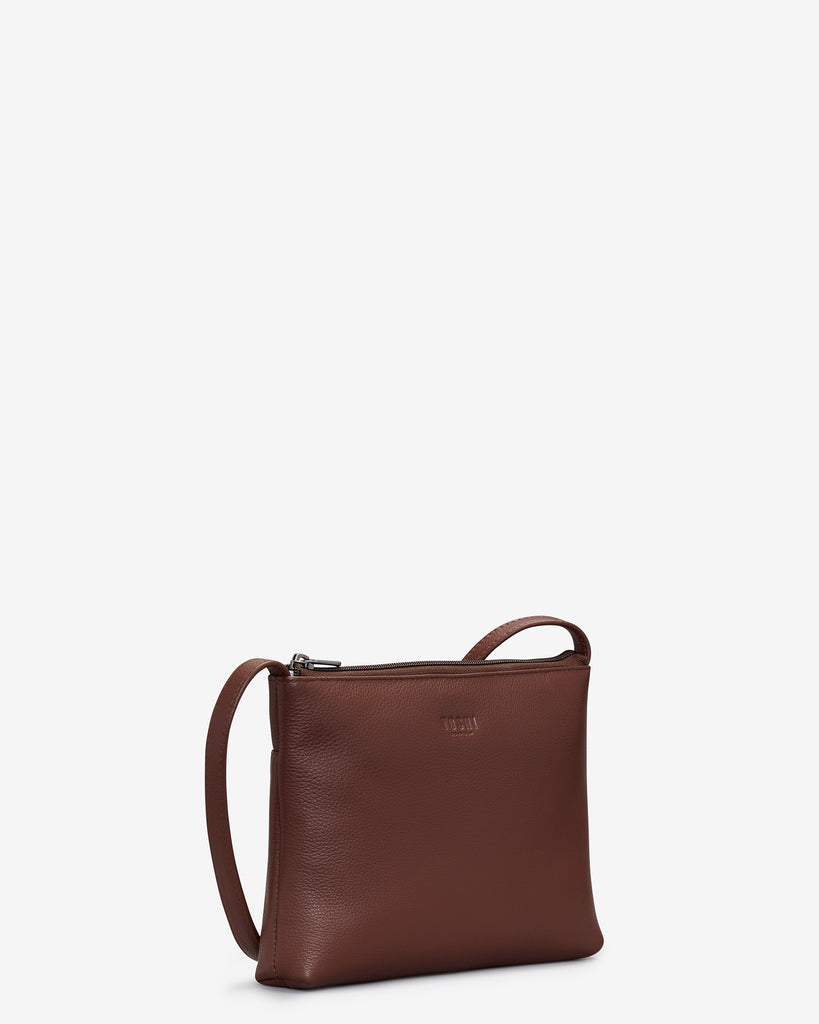 Parker Brown Leather Cross Body Bag - Yoshi