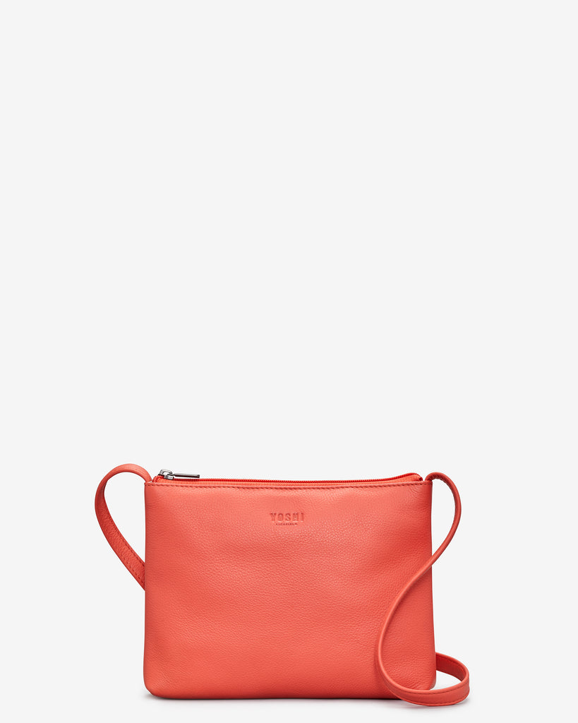 Parker Coral Leather Cross Body Bag - Coral - Yoshi