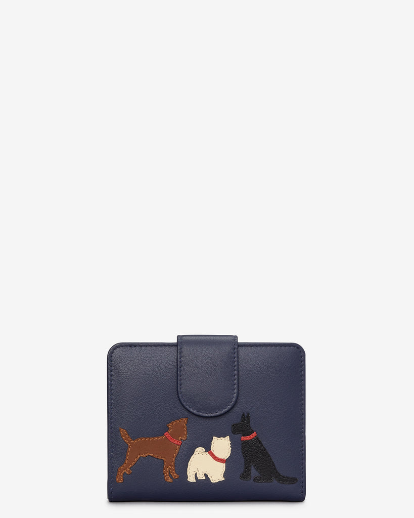 Paw-fect Pals Medium Zip Around Navy Leather Purse - Navy - Y by Yoshi