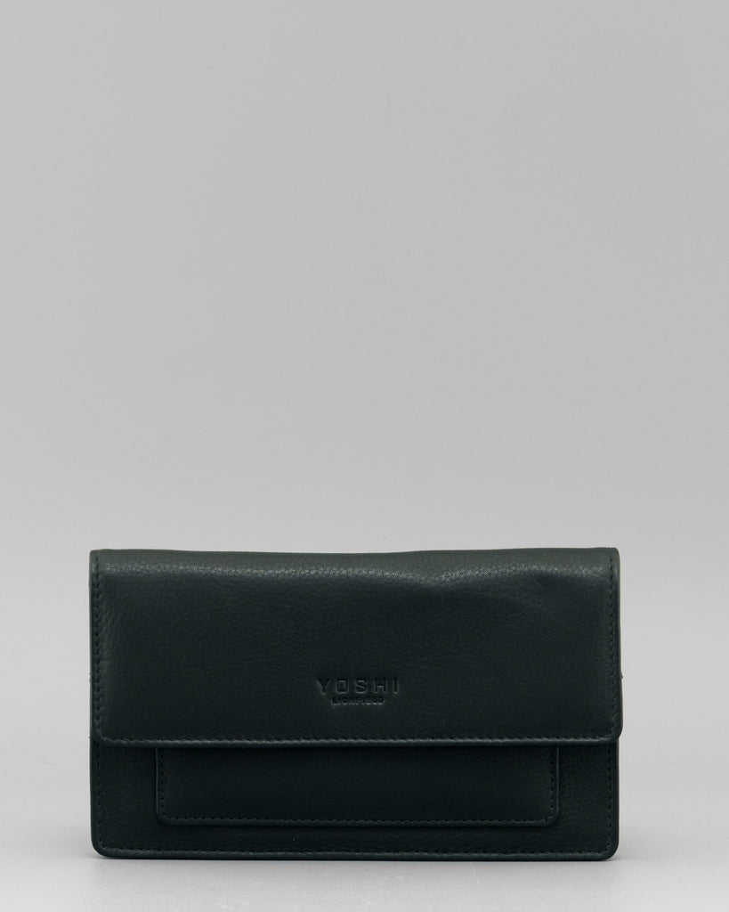 Paxton Flap Over Black Leather Purse by Yoshi A
