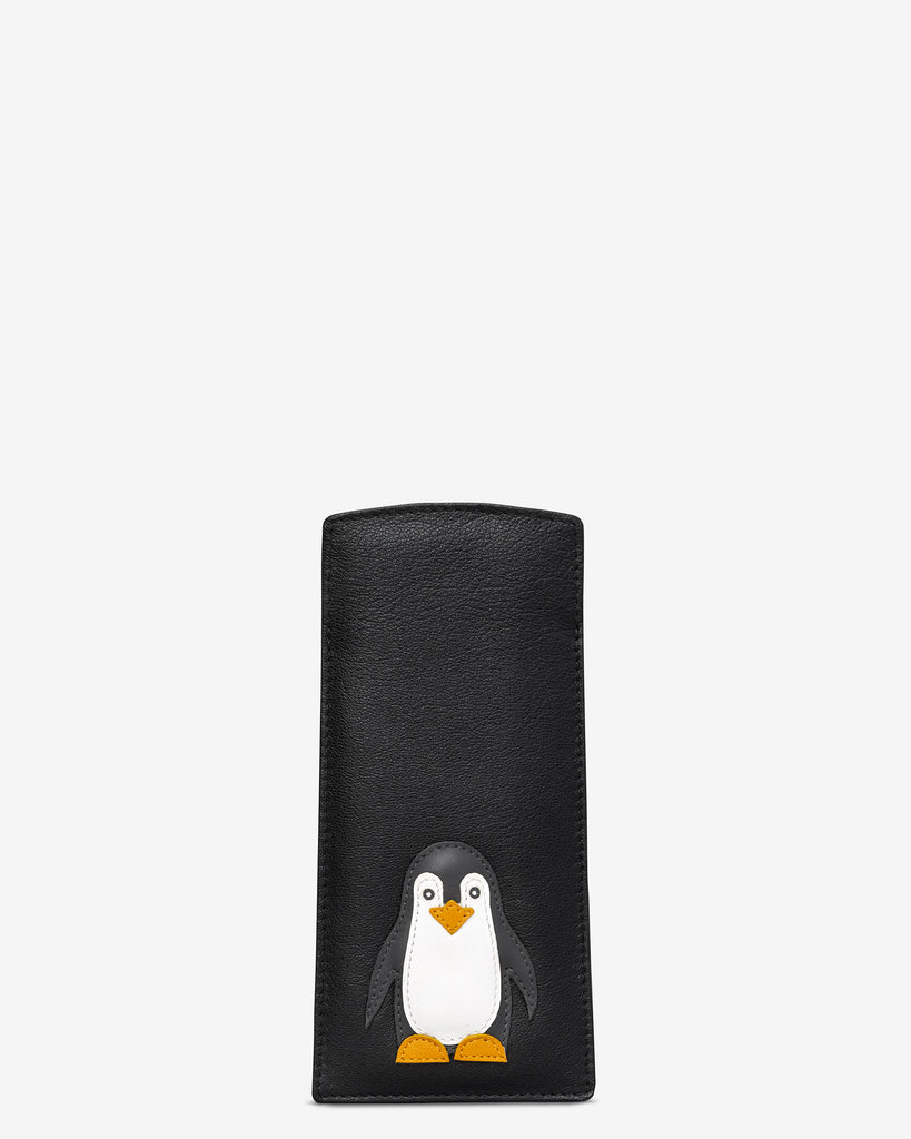 Penguin Pals Black Leather Glasses Case - Black - Y by Yoshi