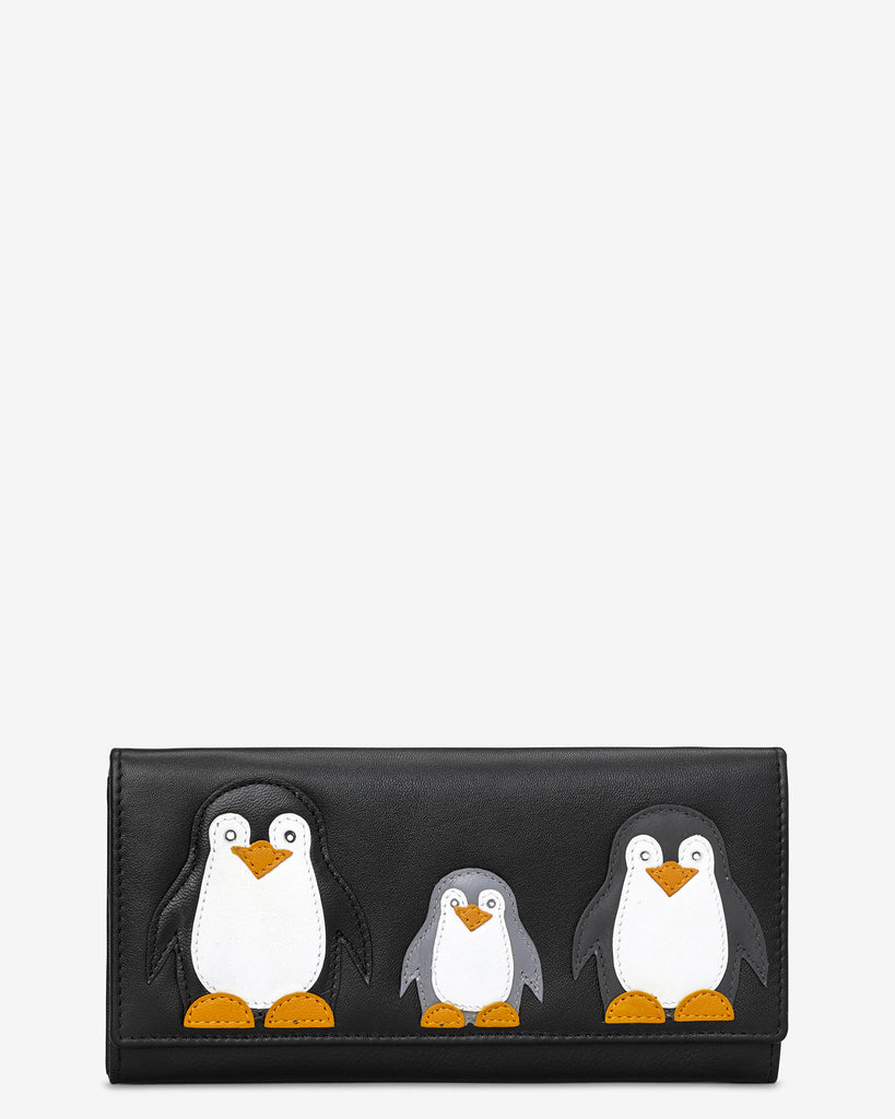 Penguin Pals Black Leather Matinee Purse - Black - Y by Yoshi