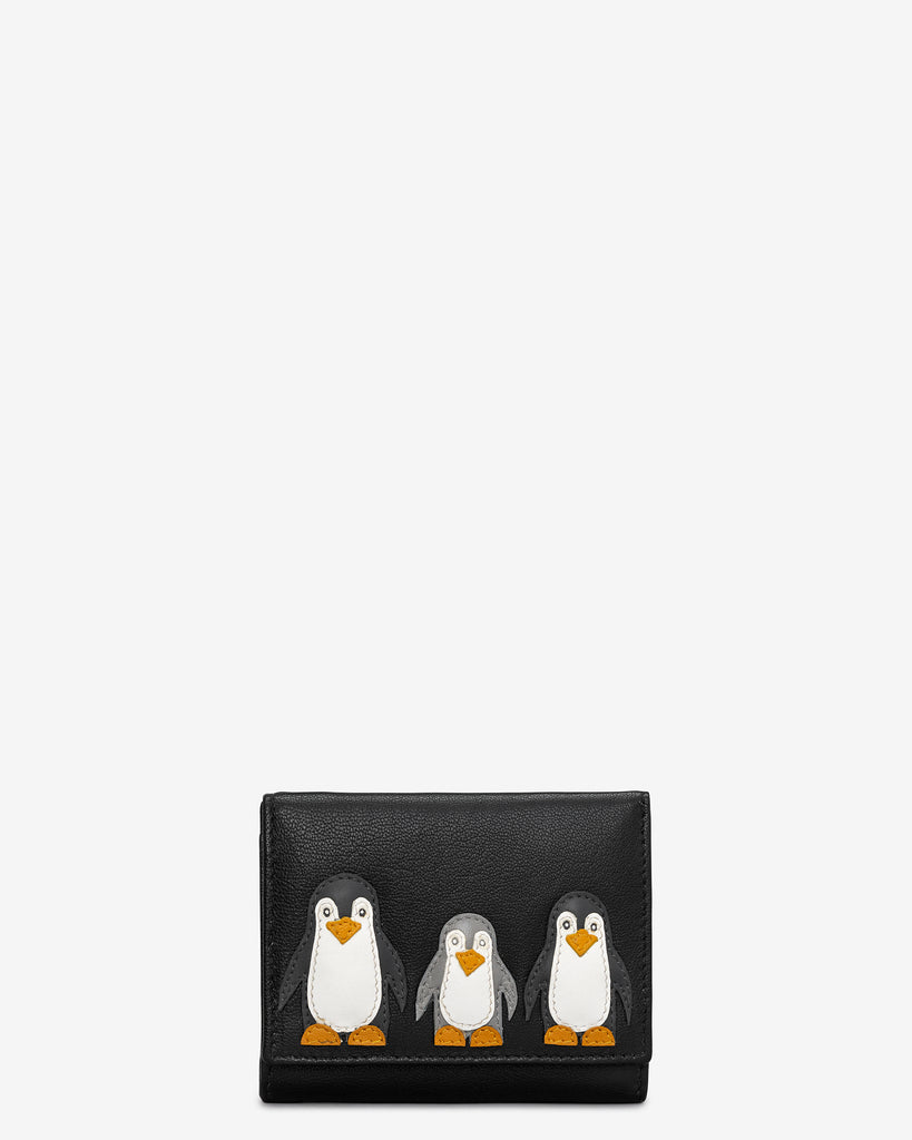 Penguin Pals Zip Around Black Leather Purse - Black - Y by Yoshi
