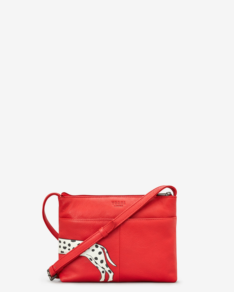 Penny The Dalmatian Red Leather Cross Body Bag - Yoshi
