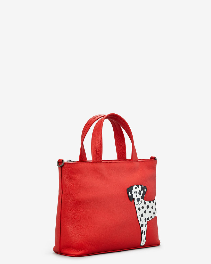 Penny The Dalmatian Red Leather Multiway Grab Bag - Yoshi