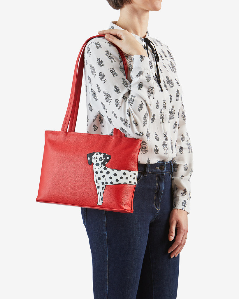 Penny The Dalmatian Red Leather Shoulder Bag - Yoshi