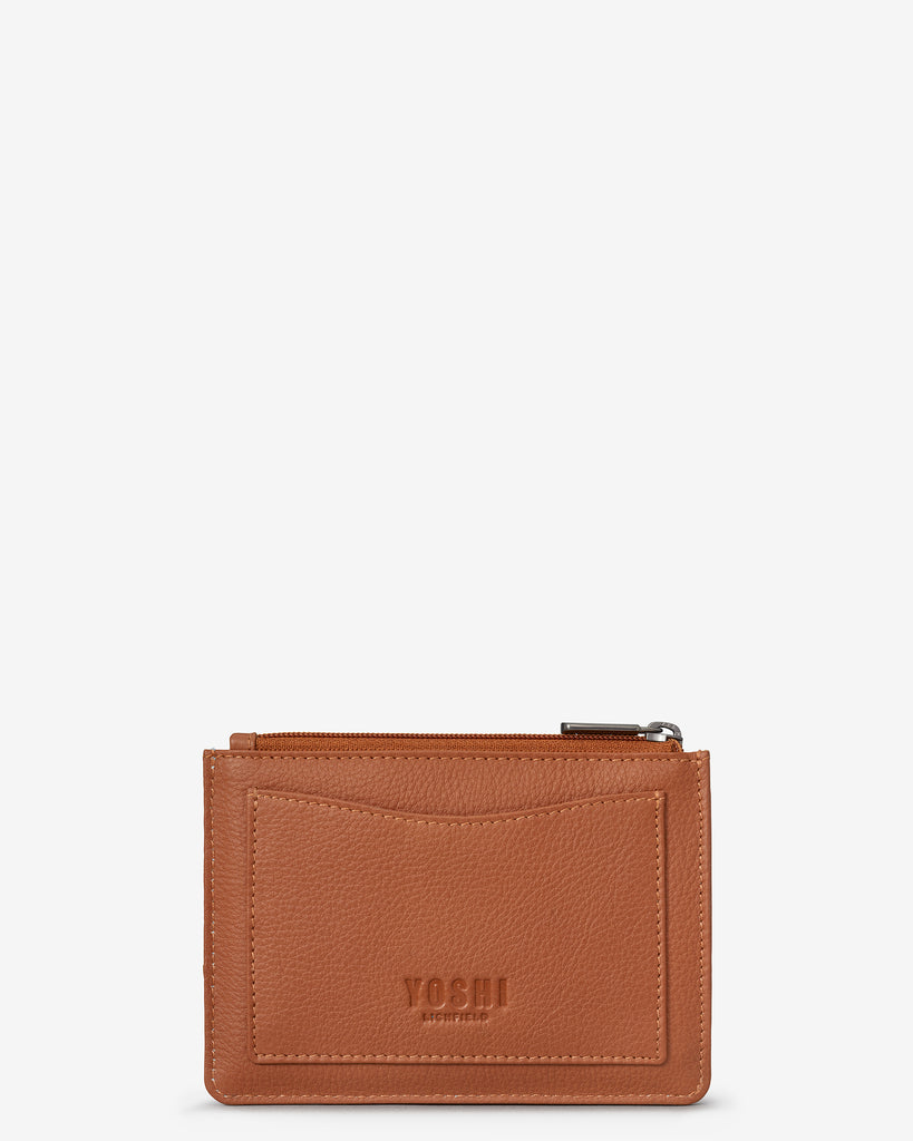 Perfect Pantry Zip Top Tan Leather Purse - Yoshi