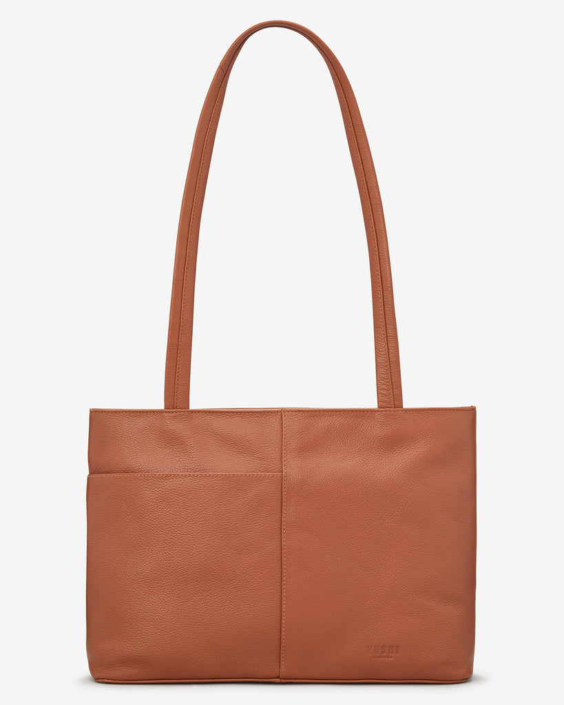Perfect Pantry Tan Leather Shoulder Bag - Yoshi