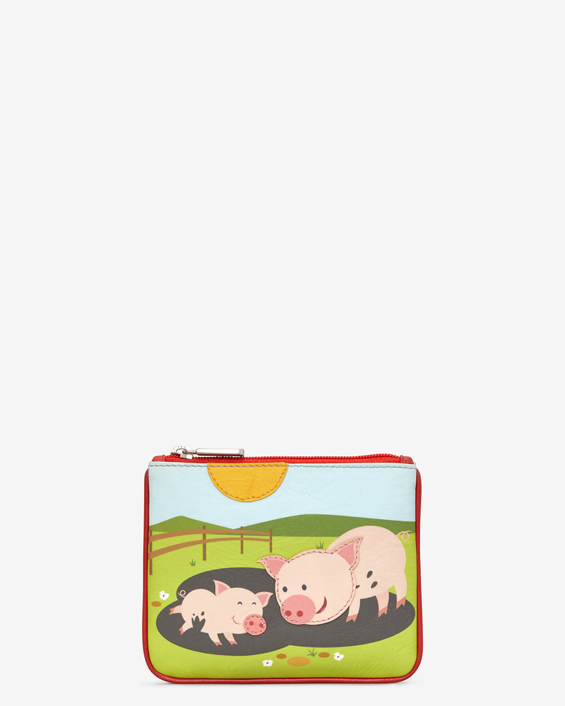 Pigs In Mud Zip Top Leather Purse - Red - Yoshi