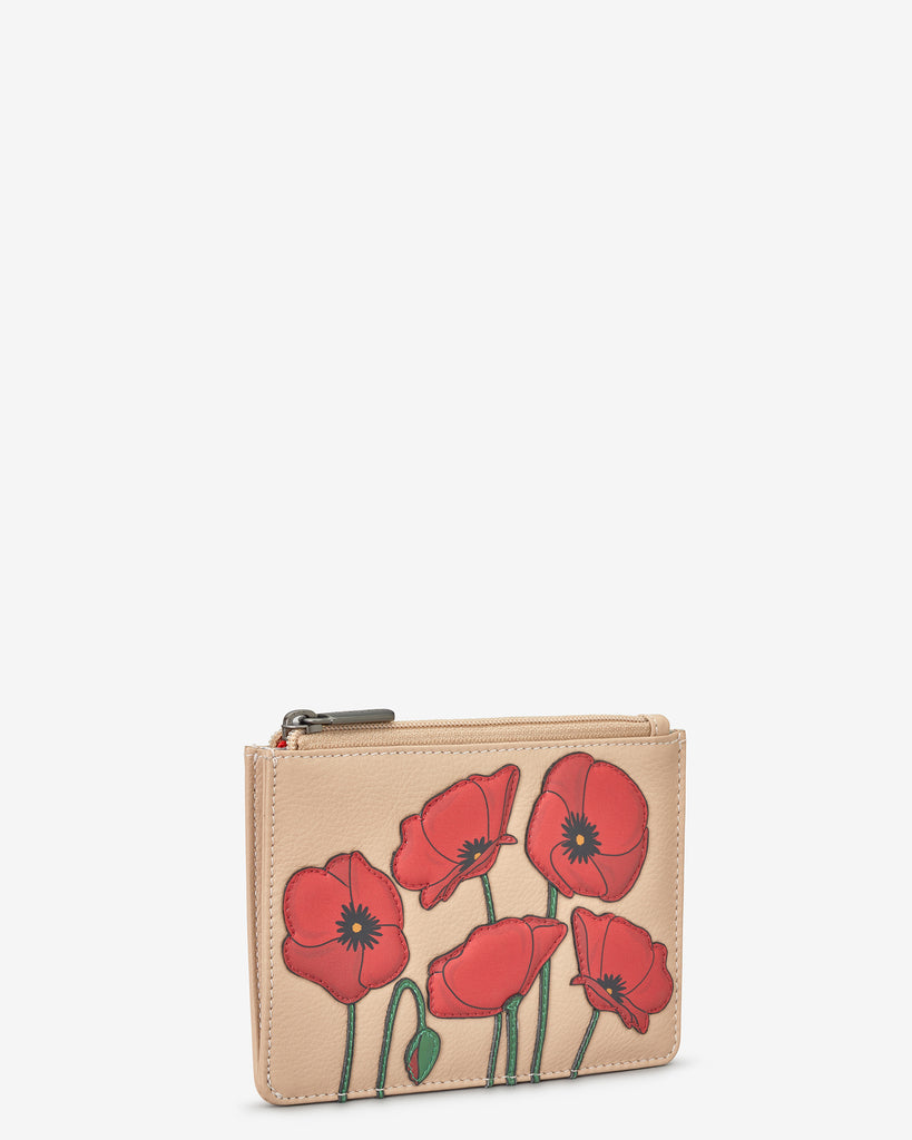 Poppy Flower Frappe Leather Zip Top Purse - Yoshi