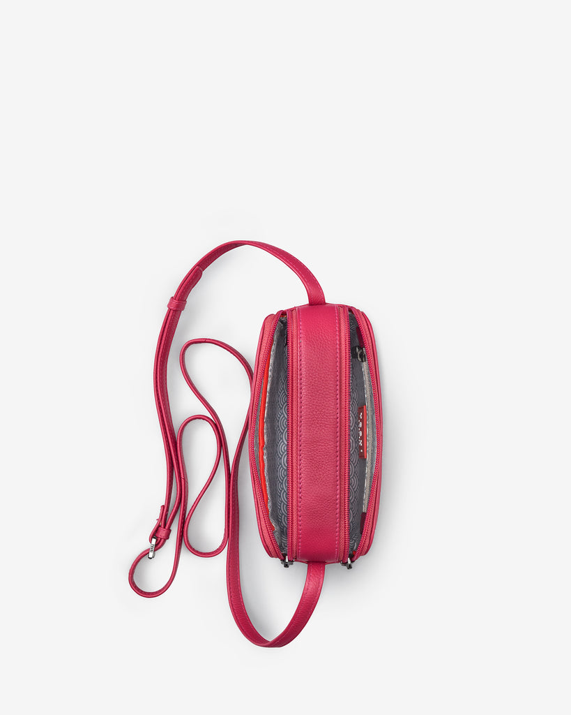 Porter Raspberry Leather Cross Body Bag - Yoshi