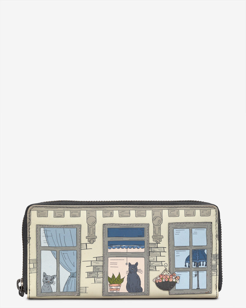 Purrfect Neighbours Leather Baxter Purse - Grey - Yoshi
