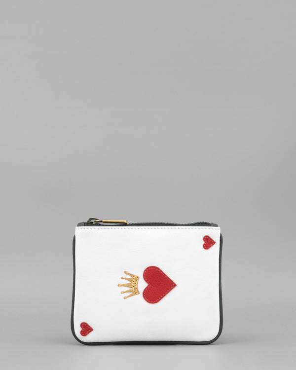 Queen of Hearts Grey Leather Zip Top Coin Purse by Yoshi A