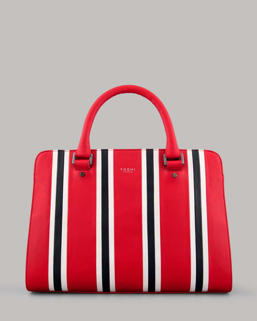 Rally Red Stripe Leather Ladies Tote Bag By Yoshi A